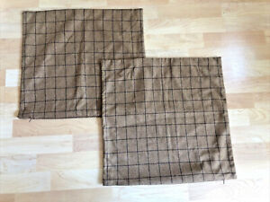 """PAIR Threshold Wool Blend Toss PIllow Covers Brown Tweed Plaid 20"""" Square"""
