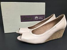 Pre-owned Clarks Woman Authentic Brand Leather Shoes Blush Pink