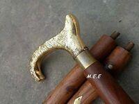 Solid Brass Vintage Designer Handle Walking Cane Wooden Stick Antique Style Item