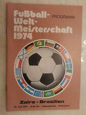 1974 World Cup Programme: ZAIRE v BRAZIL- 22nd June