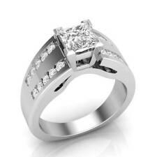 2.43 Ct Near White Princess Cut Moissanite Mens Ring Solid 10k White Gold