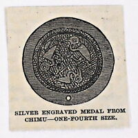 small 1883 magazine engraving ~ SILVER ENGRAVED MEDAL FROM CHIMU, Peru