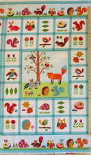 Woodland Friends Fox Porcupine Owl Raccoon FLANNEL Norhcott Fabric Panel  23""