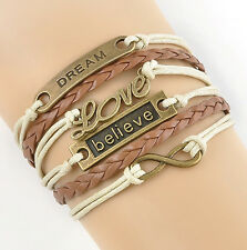 "Bracelet HOT ""dream believe"" Infinity Love Anchor Leather Cute Charm Bronze DIY"