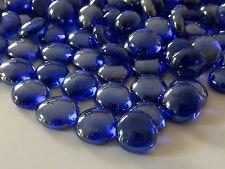 Round Glass Pebbles / Stones / Nuggets - Sapphire Blue Iridised