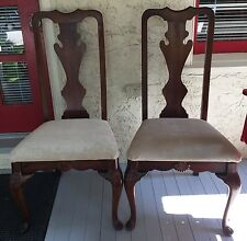 Pair Ethan Allen Georgian Court Queen Anne Dining Room Side Chairs