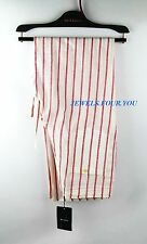 KITON NAPOLI SUMMER LIGHT WEIGHT 100% LINEN RED STRIPES PANTS SIZE 32 (48 IT)