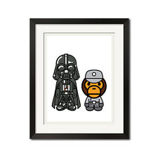 A Bathing Ape x Star Wars Darth Vader x Baby Milo Empire Commander White Poster