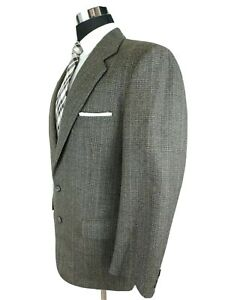 Joseph Abboud Brown Glen Plaid Wool Sport Coat 2 Button Jacket Mens Size 38/40R