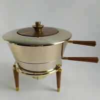 Georges Briard Warming/Chafing Pot Teak & Gold Accents Atomic Danish MCM RARE