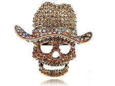 Vintage Retro Light Topaz Crystal Rhinestone Skull Cowboy Hat Statement Ring
