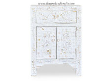 Mother Of Pearl Inlay Floral 1 Drawer 2 Door Bedside Table White
