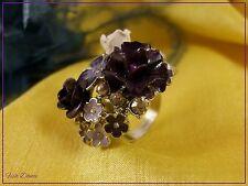 JON RICHARD. CRYSTAL & ENAMEL GOLD, PURPLE & WHITE FLOWER CLUSTER RING (Cb)