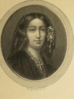 RARE Gravure Portrait GEORGE SAND ROMANTISME FEMINISME NOHANT BALEARES 1860