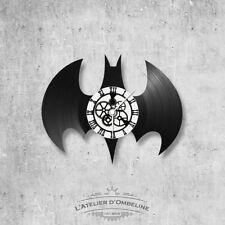 Horloge en disque vinyle 33 tours thème Logo Batman