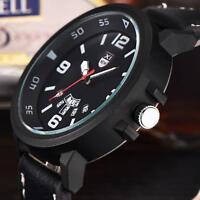 Lässig Herren Leder Band Armbanduhr Militär Sportuhr Analog Quartz Date Watch