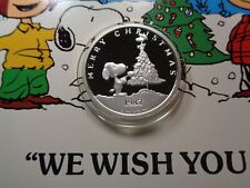 SNOOPY CHARLIE BROWN WOODSTOCK PEANUTS 1987 CHRISTMAS 999 SILVER COIN CASE COA