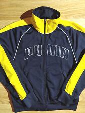 Puma 90's Vintage Mens Tracksuit Top Jacket Navy Blue Yellow