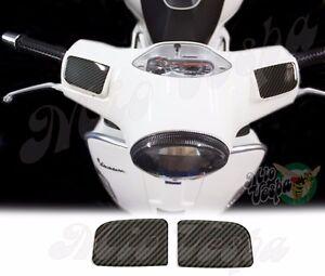 Carbon Look Mirror Delete pump covers overlay 3D Decals sticker Vespa GTs250 300