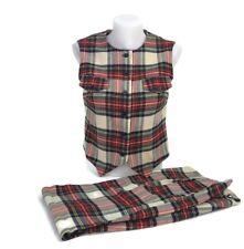 Vintage Sportaville Womens 100% Wool Plaid Pants Matching Top Vest Uk Size 24 S1