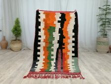 Vintage Moroccan Tribal Handmade Rug 3'x4'9 Striped Berber Orange Green Wool Rug
