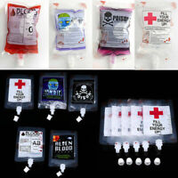 2X Halloween Reusable Clear Drink Blood Bag Haunted Party Decoration Scary Props