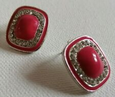 Earrings With Stones Push Back Closure Cute Retro Pink & Silver Colour Stud