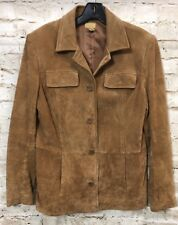 Caslon Tan Solid Suede Genuine Leather Women's Jacket Size L Large