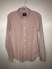NWT Abercrombie & Fitch Men's Size XS Burgundy/White LS Plaid Button Up