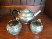 Vintage Three Piece 'Cameo Pewter' Hammered Pewter Tea set By E H Parkin