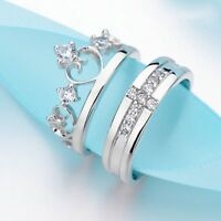 Silver Prince Cross Princess Couple Promise Rings Her And His Band Couple Rings