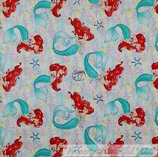 BonEful Fabric Cotton Quilt White Little Mermaid Girl Disney Movie Dress L SCRAP
