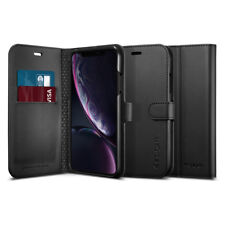 iPhone XR | Spigen® [Wallet S] Card Slot Synthetic Leather Shockproof Case Cover