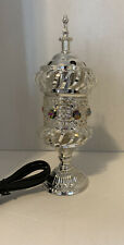 Intricate Carousel Electric Mubkhara With Embedded Crystals Small NIB Silver