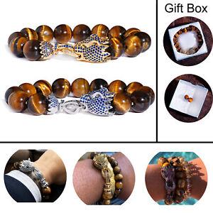 Luxury Cz Pave Dragon Beads Natural 14 MM Real Tiger Eye Beaded Bracelets Mens