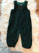 Vintage 24 Mo Girls Green Velvet Christmas Holiday Romper One Piece Embroidered