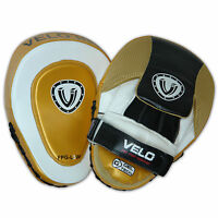 VELO Leather Focus Pads Hook and Jab MMA Boxing Kick Curved Mitt Gloves Thai