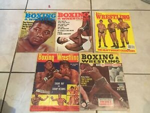 Lot of 5 Boxing & Wrestling Magazines. 1953-1966,