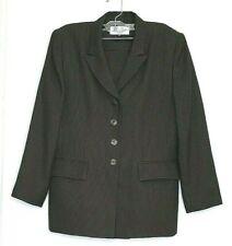 Le Suit 2 Piece Navy Blue Brown  Sz 12P  Lined Vintage Houndstooth Elastic Waist