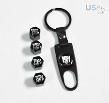 Black CAR Wheel Tyre Tire Valves Dust Stem Air Caps Keychain Transformers Emblem