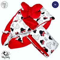 Babynestchen Neugeborene Kuschelnest Baby Nestchen Bett Set 5-Teilig Kokon Rot