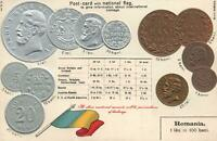 1900's VINTAGE ROMANIA EMBOSSED COPPER GOLD & SILVER COINS POSTCARD - UNUSED