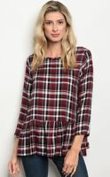 NWT Women's Small Plaid Peplum Blouse BOUTIQUE TOP