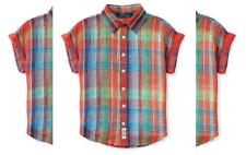 Ralph Lauren Girls' Short Sleeve Plaid Button Down Shirt,Red, Size 8, MSRP$49.5