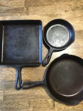 GRISWOLD Cast Iron #8 Square Fry Skillet Lot W/ Griswold #6/ Unbranded 6 1/2 Pan