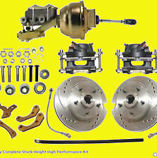 Disc Brake Kit Brakes Front Drilled Slotted Kit Power Booster Chevy 1955 56 57