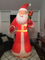 Gemmy Airblown Inflatable Mixed Media Old World Santa Claus 9 Ft