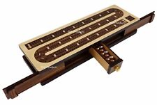 "12 1/2"" 3 TRACK CONTINUOUS Cribbage Board Rosewood & Maple W Drawer Slider Door"