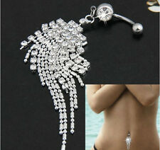 1pc Rhinestone Dangle Tassels Chain Belly Dance Button Bar Navel Ring Jewelry