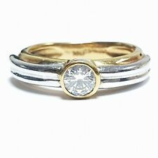 Bargain 0.33ct Round Diamond Solitaire Ring, 5.9gram Heavy 18k White/Yellow Gold